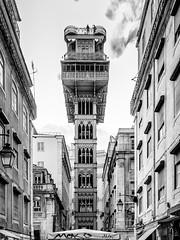 Lisbon / Lisboa (drasphotography) Tags: lisbon lisboa lissabon santa justa lift architecture architektur monochrome monochromatic blackandwhite bw schwarzweis bianconero drasphotography travel travelphotography reise reisefotografie city urban cityscape