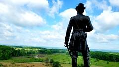 General Warren at Little Round Top, Gettysburg Pa (bpephin) Tags: civilwar america usa warren general statue littleroundtop pennsylvania devilsden cloud sky battle war