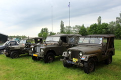 Three military vehicles, from left: 1944 Willys Overland MB, 1978 Land Rover 109 and 1960 Nekaf Jeep M38A1. (Davydutchy) Tags: hoornsterzwaag fryslân friesland frisia frise nedeerland netherlands niederlande paysbas oldtimer evenement event festival show classic klassiker klassiek veterán car voiture vehicle auto automobiel automobile bil pkw avto military militair militär army leger heer legervoertuig 4x4 jeep nekaf m38a1 landrover land rover willys overland mb 109 may 2018