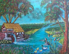 THE OLD MILL. (tomas491) Tags: mill ducks birds flowers house fantasypainting sweden flag haystacks mallard lilies waterlilies