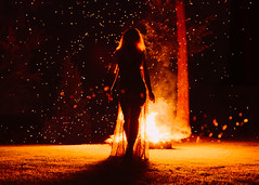 Allison (Mike Monaghan) Tags: mikemonaghan girl fashion light blonde hair face fire flame bokeh bonfire emotion power woman lighting mood cinematic powerful witchy surreal
