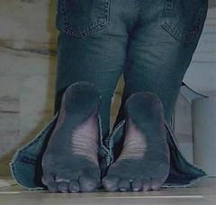 jeans (paulswentkowski1983) Tags: dirty feet soles female street calloused calliused pitch black