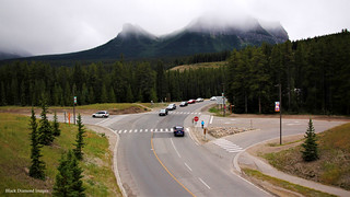 Road Intersection near Lake Louise Viewed from the Rocky Mountaineer,  Alberta, Canada