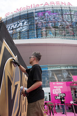 Spen.1 paints a mural at a Golden Knights Stanley Cup watch Party in Las Vegas (FreezeTimeDigital) Tags: lasvegas vegas sincity graffiti mural spen1 spenoner artist goldenknights hockey stanleycup tmobilearena watchparty nikond750 photojournalism spraypaint paint nhl sports fans event