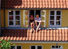 When you don't have a balcony... (Jaedde & Sis) Tags: open sitting two candid hot weather summer sweep friendlychallenges mpt648 matchpointwinner