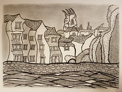 Totnes.  As viewed from Steamer quay, across the river Dart . (jeffhill6) Tags: totnes riverdart steamerquay abstractart architecture artwork penandink graphite