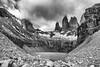 BW, Base de las Torres, Chile (beautifullcreatures) Tags: chile cloud lake mountain peaks stone water rock np black white