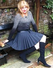 Love the Colour (Amber :-)) Tags: charcoal sunray pleated mini skirt tgirl transvestite crossdressing