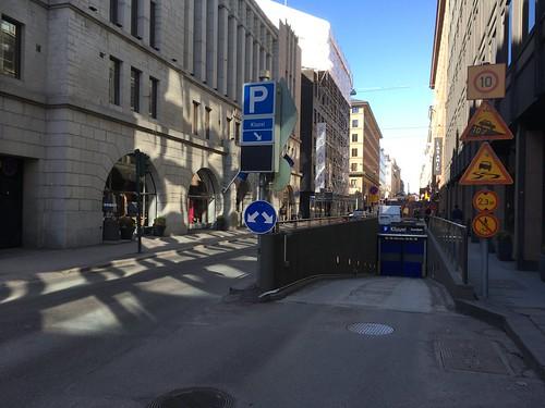 Underground parking entrance in street