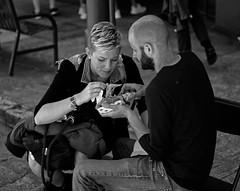 Street Food (ROSS HONG KONG) Tags: street streetphoto food fair festival sanfrancisco unionstreet california black white couple bw noir blanc monochrome monochrom leica noctilux 50mm 095 lunch streetfood
