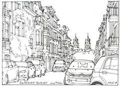 Liège, rue Regnier-Poncelet (gerard michel) Tags: belgium architecture liège rue sketch croquis