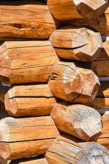 Interlocking Logs (maytag97) Tags: maytag97 wall log logs building structure tree wood background house texture cabin timber home exterior architecture wooden rustic pattern natural brown closeup traditional construction material surface rural row striped hardwood design color abstract