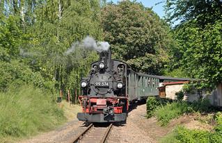 Steam locomotive B'B'-n4vt No. 99 574 stands at Kemmlitz Ort Bf on the Döllnitzbahn, Germany.