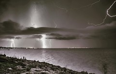 Galveston Bay Lightning Storm (181pics) Tags: rain clouds bw blackandwhite lndscape seascape sonya7rii sony texas houston lightningstrike lightningstorm storm sky weather bolt lightning light