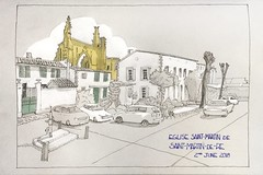 Cours Gambetta Saint-Martin de Re (oxlade134) Tags: france sketch church townscape eglise iglesia houses architecture ruin cloud drawing saintmartindere cours gambetta saintmartin de re street car