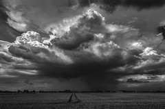 Storm Clouds in B&W (Klaus Ficker --Landscape and Nature Photographer--) Tags: storm clouds thunderstorm wind evening rain landscape town church germany gewitter sturm regen weather kentuckyphotography klausficker canon eos5dmarkiv bw blackandwhite schwarz white photoshop