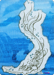 SerenaAzureth_ATC_MermaidSketch2 (SerenaAzureth) Tags: serenaazureth handdrawn sketch drawing pencil pencils watercolor pen atc artist trading card swapbot swap bot mermaid fantasy blue