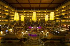 JW Marriott Desert Springs Lobby (johngoucher) Tags: approved coachellavalley jwmarriottdesertsprings california hotel architecture building design interiorspaces sonyalpha sonyimages rokinon12mm wideanglelens travel lobbybar marriott palmtrees chandeliers golden atrium ceiling