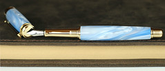 Pearl Sky Blue Fountain Pen - Calligraphy Nib (BenjaminCookDesigns) Tags: fountainpen custom bespoke engraved personalised classic vintage artdeco style gift birthday christmas fpgeeks fpn giftforhim giftforher füllfederhalter blue pearl sky