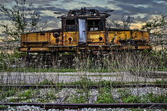The Electric Connection   .....(enlarge for detail) (jackalope22) Tags: train boone electric tram yellow rust wires track weeds