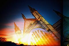 Lomo – stained glass sunset (lomomowlem) Tags: 35mm analogue crossprocess colourstreambrighton cathedral doubleexposure expiredfilm kodakelitechrome lomo lomography lca lofi multipleexposure sunset xpro xprocess dusk