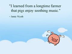 Pgs enjoy soothing music (iHeartsy-Music) Tags: realistpainter jamiewyeth quotes graphicart cartoon drawing pig pigfly music soothing artist art funny meme quotation publicdomain
