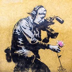 Banksy (Thomas Hawk) Tags: america banksy parkcity usa unitedstates unitedstatesofamerica utah cameraman flower graffiti meta stencil us fav10 fav25