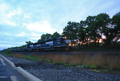 Blue hour at Ogden (GLC 392) Tags: ns norfolk southern emd gp60 coil train ogden dunes in indiana blue hour sun set dusk tree 7144 7145 railroad railway steel
