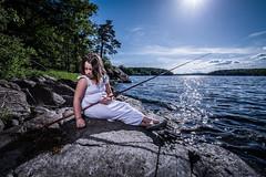KAYA (RADEK C) Tags: nikon art lake beauty model girl child daughter family sweden nature fishing