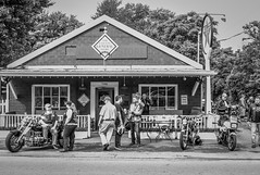 Ride and Breakfast #1 (Airborne Guy) Tags: motorcycles bikes people breakfast ride rally group riders bnw bw blackandwhite monochrome rural country generalstore town street