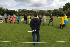 Historia Normannis Meadows June 2018-14 (Philip Gillespie) Tags: historia normannis central scotland sparring fighting shields swords axes spears park grass canon 5dsr men man women woman kids boys girls arms feet hands faces heads legs shins running outdoor tabards chain mail chainmail helmets hats glasses sun clouds sky teams solo dead act acting colour color blue green red yellow orange white black hair practice open tutorial defending attacking volunteer amateur kneeling fallen down jumping pretty athletic activity hit punch
