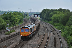66730 (Lewis_Hurley) Tags: england uk saltleyviaduct birmingham saltley tanks 6e45 railway train freight oil gbrailfreight gbrf whitemoor shed class66 66730 66