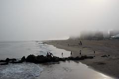 Fog (dtanist) Tags: brooklyn nyc newyork newyorkcity new york city sony a7 contax zeiss carlzeiss carl planar coney island boardwalk steeplechase pier beach sand sea fog mist foggy rocks