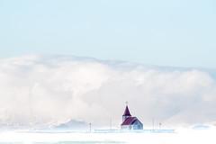 Paix céleste (michelgroleau) Tags: snaefellness iceland islande chapel chapelle neige snow nuage montagne cloud