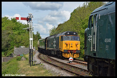 No 50049 Defiance No 45041 Royal Tank Regiment 13th May 2018 Swanage Railway Diesel Gala (Ian Sharman 1963) Tags: 50049 defiance 13th may 2018 swanage railway diesel gala no 45041 royal tank regiment class station engine rail railways train trains loco locomotive passenger heritage line corfe castle norden 50 hoover 45 peak