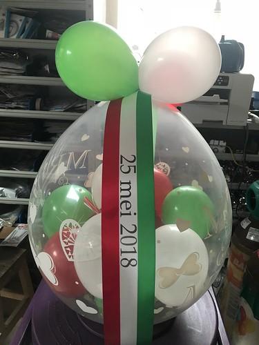 Kadoballon met bedrukt lint Italiaanse vlag