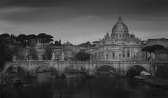 St Peter's basilica from the River Tiber (Brad@Shaw) Tags: purple rome blackwhite blackandwhite cloudy italy le longexposure canon morning river architecture buildings bridge tiber geotagged dawn grey moody vacation vatican