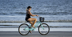 Bicycle (pedro katz) Tags: woman bicycle sea cocoabeach basket tires water sand pedals hat