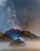 St. Coloman (louhma) Tags: st coloman kirche church bavaria deutschland d750 milkyway milchstrase stars night longexposure long exposure panorama fog foggy mist nebel lights alps colorful