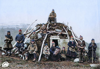 Sami people and a traditional peat hut, ca. 1850.
