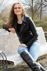 Selina 01 (The Booted Cat) Tags: sexy model girl tight jeans leather jacket boots