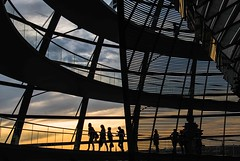 silhouettes in berlin (lucafabbricesena) Tags: architecture berlin silhouette people bundestag lines sunset dome kuppel nikon d800 building parliament reichstag normanfoster
