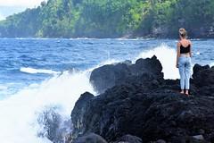 Big surf today (thomasgorman1) Tags: nikon lavarock laupahoehoe waves windy surf woman shore beach rocks crashing standing candid island