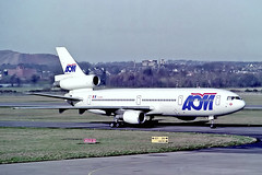 F-GGMZ   McDonnell Douglas DC-10-30 [46990] (AOM French Airlines) Edinburgh-Turnhouse~G 07/03/1992 (raybarber2) Tags: 46990 airliner alpechacollection approachtodo cn46990 cancelled egph fggmz flickr frenchcivil negative
