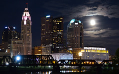 There was a full Moon last night (brutus61534) Tags: city skyline night full moon clouds columbus ohio buildings rail bridge leveque tower lights colors urban
