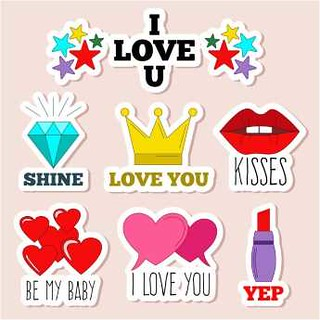 free vector Happy Valentines Day I love You Icons