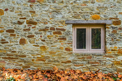 Autumn view (Trace Connolly Photography) Tags: window autumn leaves stone view bricks wood texture mill australia southaustralia yellow color colours colour adelaidehills