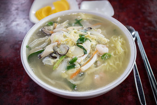 Chicken Broth Noodles with Seafood.