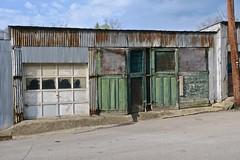 Green Doors, Fairmont, WV (Robby Virus) Tags: fairmont westvirginia wv green doors abandoned metal garage building derelict