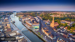 Drogheda from the air (mythicalireland) Tags: drogheda town river boyne valley evening sunset glow golden hour aerial drone phantom 3 advanced quadcopter st marys church steeple bridge de lacy scotch hall shopping centre port ship viaduct sky dublin road bull ring